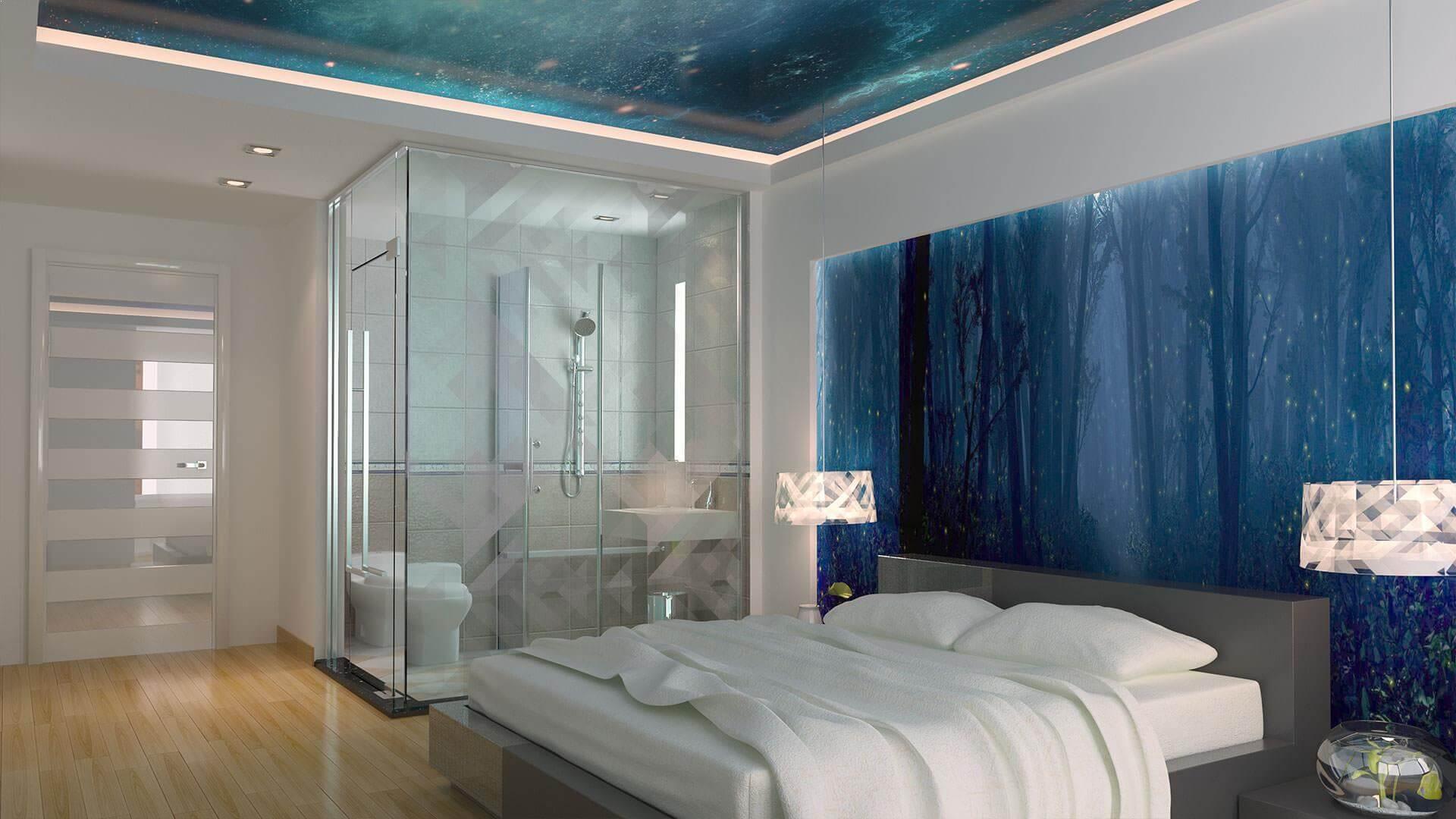 Натяжні стелі для спальні