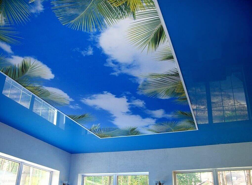 натяжные потолки с фотопечатью в кухне