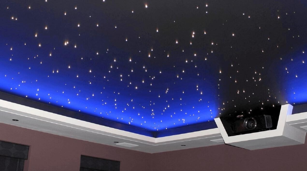 натяжной потолок звездное небо в спальне